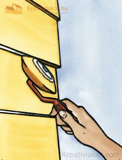 Sarokhengerrel a kisebb részeket is ki tudjuk festeni
