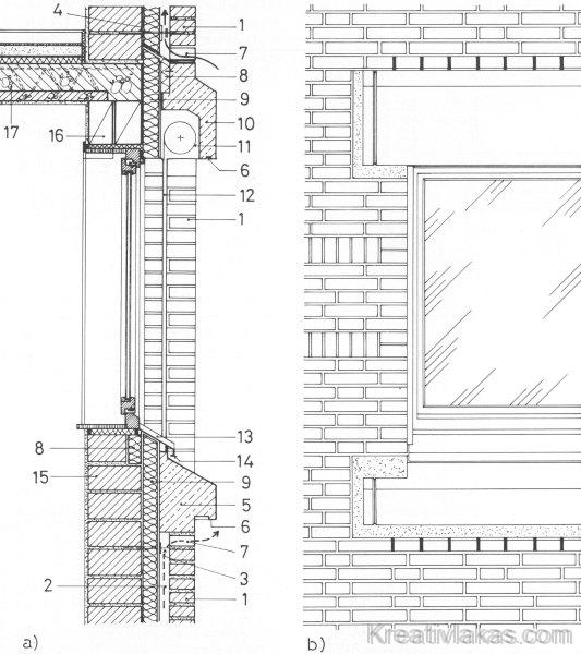 Homlokzati köpenyfal előre gyártott burkolati áthidalóval