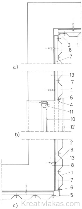 Trapézlemez homlokzati burkolások alaprajzi csomópontjai