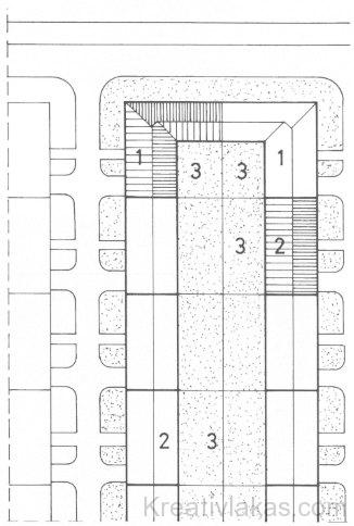 Zárt sorban épülő - telepszerű - lakóépület-együttes helyszínrajza