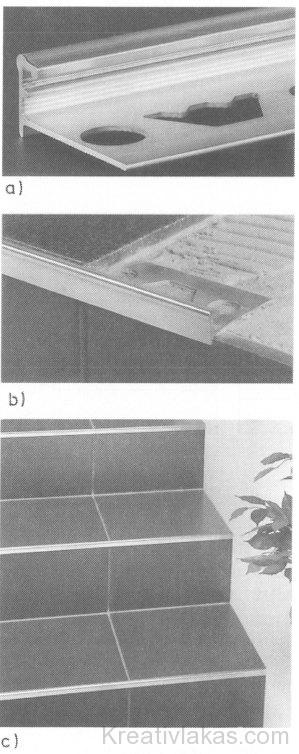 Lépcsőfok kerámiaburkolatának és élvédőjének kapcsolata