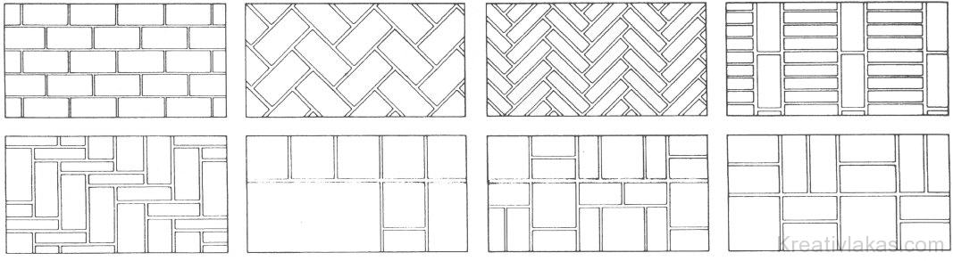 Különféle mintázatú téglaburkolatok