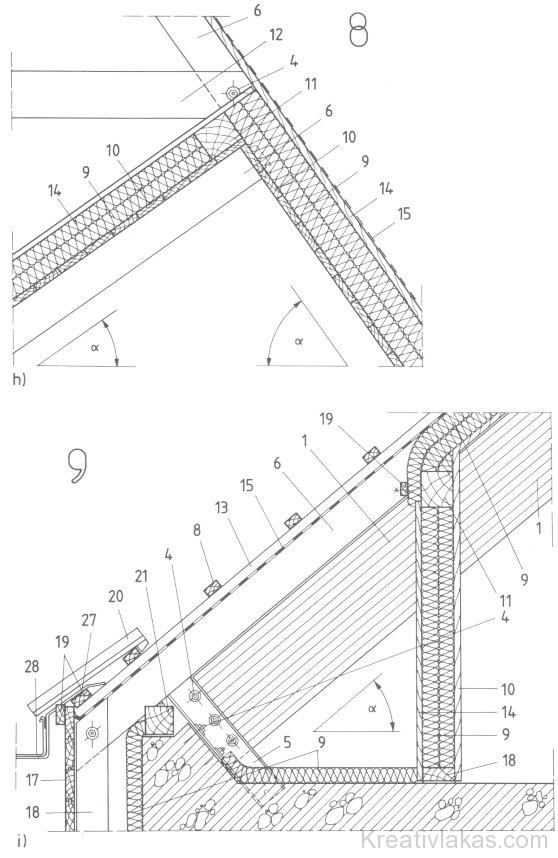 agasztott fatartójú lakóépületek csomópontjai h)…k) 1.