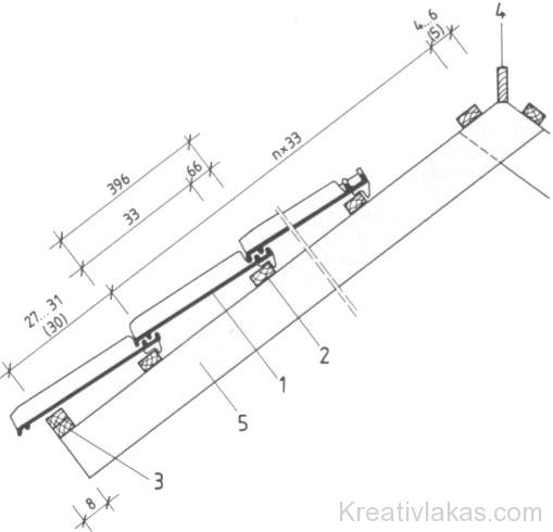 Sajtolt holland típusú tetőcserépsor kiosztásának méretrendje