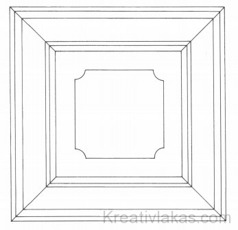 Mennyezeti kazettaelem geometrikus rajza