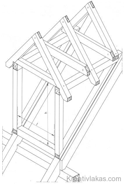 Tetősíkból kiemelt ablak faszerkezete