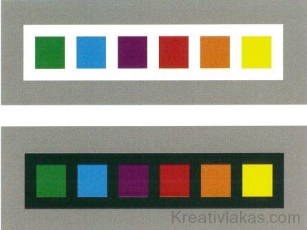 Azonos világosságú színek esetében a világos színek előtérbe, míg a sötét színek háttérbe való kerülését érzékeljük