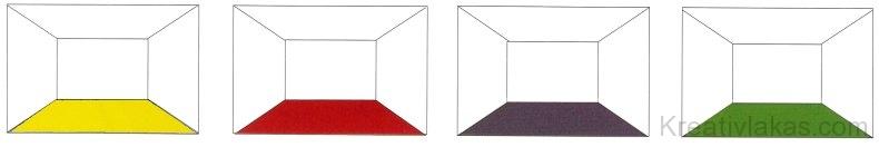 Színes padozat hatása belső térben