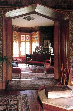 Roseland Cottage ikerszalonjának neogótikus formái