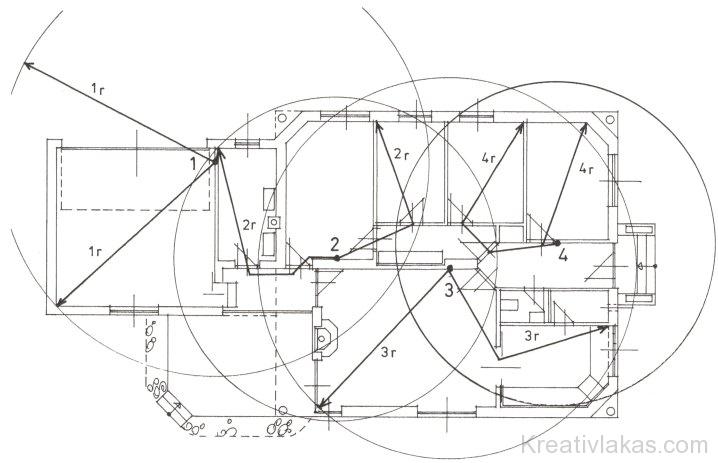 Egyszintes épület üzemi alaprajz 1-4 fali csatlakoztatási pontok