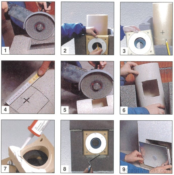 Schiedel QUADRO gyűjtőkémény füstcsőcsatlakozó-kialakításának fázisai