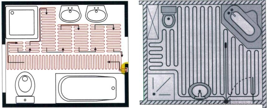17. ábra. A fűtőszőnyegek alakítása a fürdőszobában