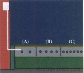 27. ábra A fűtőkábel hurkainak különböző osztástávolsága