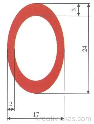 56. ábra. A padlófűtéshez használt műanyagból készült ovális cső keresztmetszete és méretei