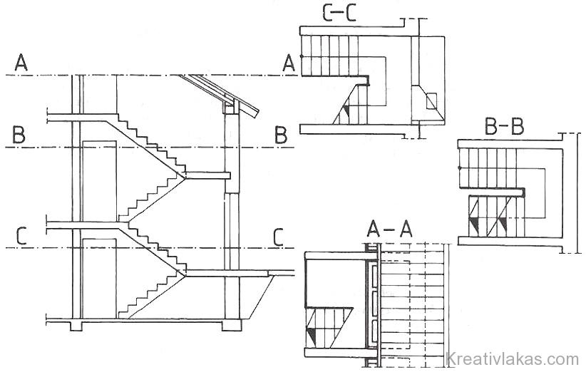 218. Ábra: Családiház vb. lépcsőszerkezetének metszete és alaprajzai.