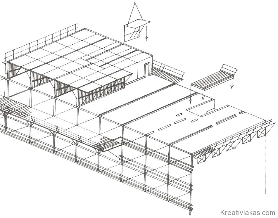 233. Ábra: Alagútzsalus épület felépítése.