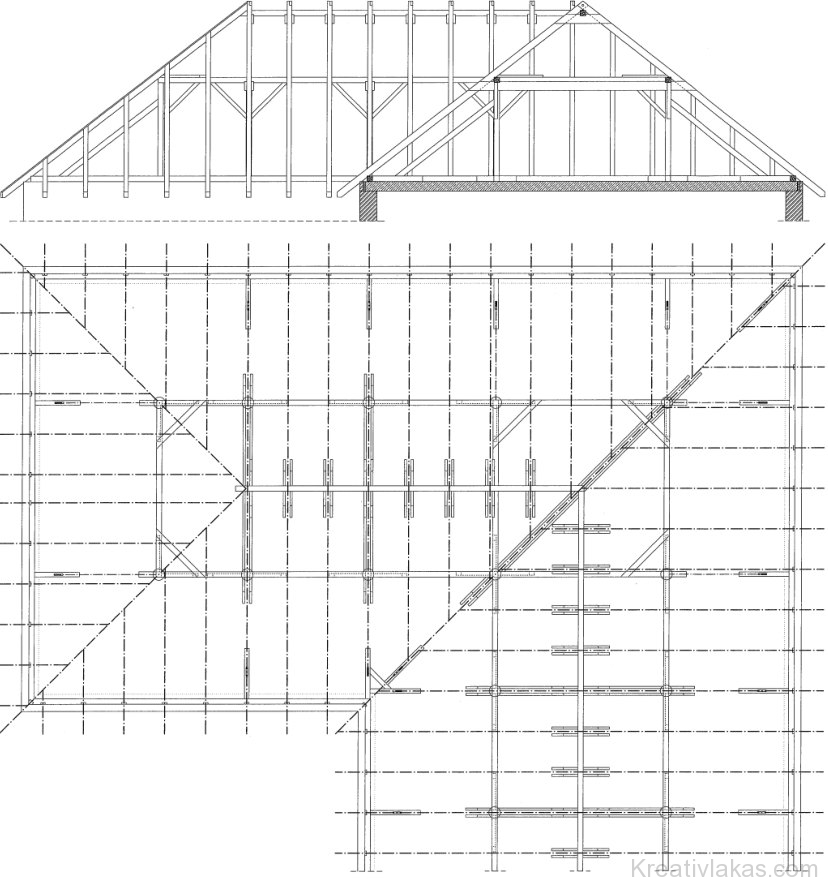 Állószékes összetett fedélszerkezet (részlet) egyenlő szélességű tetőrészek esetén