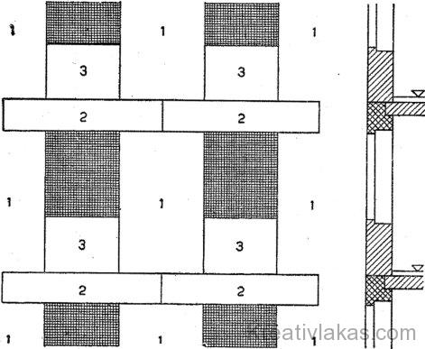 Nagy blokkos épület homlokzati falának tömbkiosztása