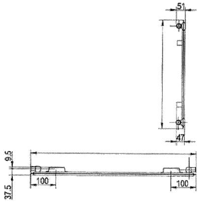 7.97. ábra. 1 soros lapradiátor jellemző méretei.